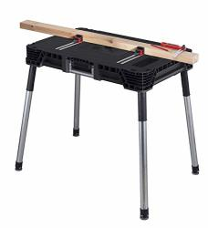 Keter Jobmade Portable Work Bench And Miter Saw Table For Woodworking Tools And Accessories With Included Wood Clamps Removable