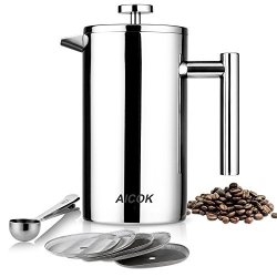 Aicok French Press Coffee Maker Double Wall Stainless Steel Coffee Press 8-CUP Tea Press With 5 Bonus Screens And Scoop 34 Oz 1L