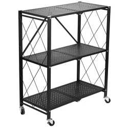Fine Living Foldable Storage Rack-black Metal 3 Layer Free Shipping