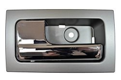 PT Auto Warehouse FO-2507MR-RLH - Interior Inner Inside Door Handle Silver Gray Housing With Chrome Lever - With Power Locks For Crew Cabs Only