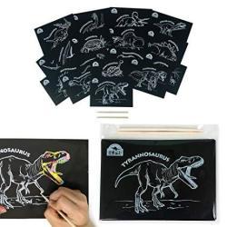Helloprom Scratch Art For Kids & Adults Dinosaur Scratch Set Of 16 Dinosaurs