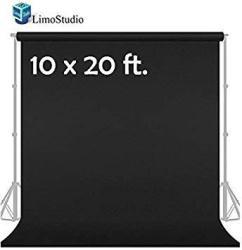 LimoStudio 10' X 20' Photo Video Studio Seamless Solid Black Muslin Backdrop Photo Studio Background AGG1601