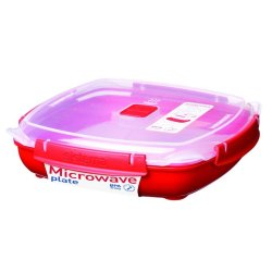 Sistema Large Microwave Plate - Red Base Clear Lid With Red Accents