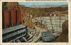 USA Boulder Dam Showing Concrete Mixers Colorado River Project Boulder Co Original Vintage Postcard