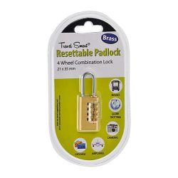 Travel Smart Resettable Padlock - 4 Wheel Combination Lock 6 Piece