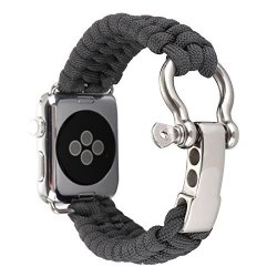 Alotm Apple Watch Band 42MM Replacement Apple Watch Band Paracord Watch Band With Rugged Outdoor Survival Stainless Steel Shackl