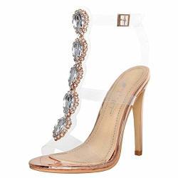 5015635368f2e Onlymaker Ankle Strap Gem Clear Stiletto High Heels Gladiator Transparent  Strip Sandals With Rhinestones Rose Gold 7 M Us