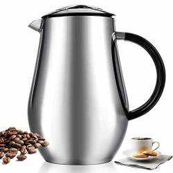 Hosmat French Press Coffee Maker Double Walled 34OZ 1000ML Espresso & Tea Maker With Extra Filter - Vacuum Insulated Stainless Steel Dishwasher Safe