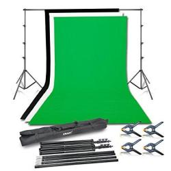 EMart Photo Video Studio Background Backdrop Stand Kit 8.5X10FT Photography Support System With 3 Muslin Backdrops 100% Cotton B