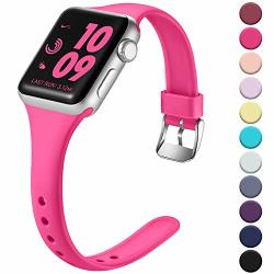 Laffav Compatible With Apple Watch Band 42MM 44MM Soft Silicone Sport Bracelet Wristbands For Iwatch Apple Watch Series 5 4 3 2 1 Rose Pink S m
