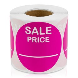 """Price 2"""" Round Pricing Retail Store Stickers tags Labels Stickers Dark Pink 300 Labels Per Roll 1 Rolls"""