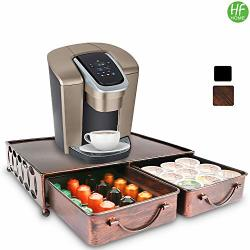Coffee Pod Holder With 2PCS Mulitifunctional Storage Drawer Organizer For Tea Bags K-cup Pods Nespresso Dolce Gusto Cbtl Verismo For Holding 60 Pods-retro Brushed Bronze