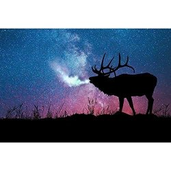 Norbi Diamond Painting Deer Spit Nebula Diy 5D Diamond Painting By Number Kits Crystal Rhinestone Diamond Embroidery Paintings Pictures Wall Art Decor Home Wall