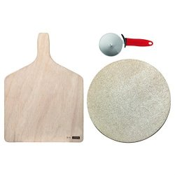 Bodum Bistro Pizza Set - Baking Stone Wooden Cutting Board & Wheel Cutter With Red Handle