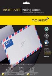 Tower W109 Mailing Inkjet-laser Labels - Pack Of 25 Sheets