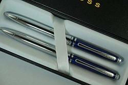 Cross Classic Executive Companion Avatar Midnight Blue Lacquer Cap Extremely Polished Chrome Barrel And Appointments With Distinctive Cross Special Signature Mid Rings Pen And