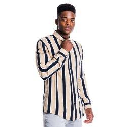 Mkm Smart Stripe Viscose Shirt Stone black