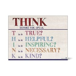Young N Refined Think Before You Speak Laminated Motivational Chart Landscape Burlap Classrooms And Educators Poster 16X20