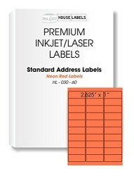 "HouseLabels 100 Sheets 3 000 Labels 30-UP Neon Fluorescent Red orange Address Labels 1"" X 2-5 8"" -- Bpa Free"