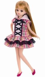 Takara Tomy Licca Doll 9 Inch Doll LD09 Plaid Cat Ears Hooded Dress