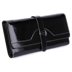 S-ZONE Women's Rfid Blocking Real Leather Long Organizer Wallet Card Holder Ladies Clutch Black