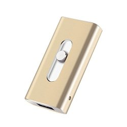 S-power 16 32 64 128GB Iphone USB Flash Drive Ios Memory Stick Ipad External Storage Expansion For Iphone ipad ios android PC LAPTOPS 3 In 1 Lightning Otg USB Flash Drive Gold