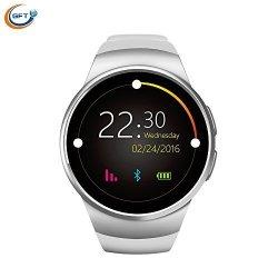 GFT MTK2502C KW18 Alarm Clock Smartwatch Bluetooth Music Round Smart Watch Iphone Compatible Women