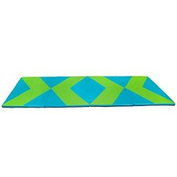 LKF Polar Aurora 4'X10'X2 Multipe Colors Thick Folding Gymnastics Gym Exercise Aerobics Mats Stretching Fitness Yoga Blue green
