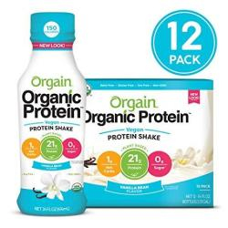 Orgain Organic 21G Vegan Plant Based Protein Shake Vanilla Bean - Meal Replacement Ready To Drink Non Dairy Gluten Free Lactose