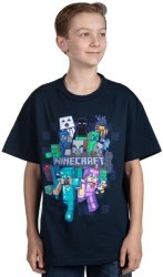 MINECRAFT - Crafty Cluster - Youth T-Shirt - Navy 11-12 Years