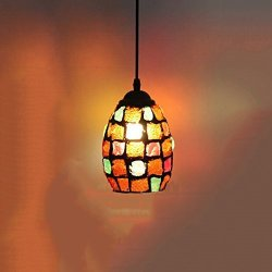 Motent Tiffany Style Pendant Light Retro Mosaic Chandelier Glass Lamp Shade Hanging Light Fixture For Bar Coffee House Art Gallery 4 3 Inches Dia