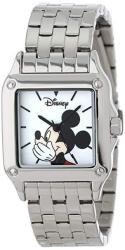 EWatchFactory Disney Women's W000858 Square Steel Mickey Mouse Silver Tone Bracelet Strap Watch