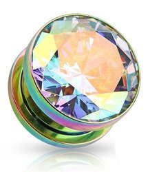 Na Lobal Domition Pair Of Large Clear Or Ab Gem Titanium Ip Screw Fit Tunnels plugs Rainbow - Aurora Borealis - 10MM 00G