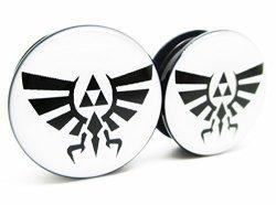 Zelda Wingcrest Triforce Ear Plugs - Acrylic Screw-on - 10 Sizes - Brand Newpair 00 Gauge 10MM