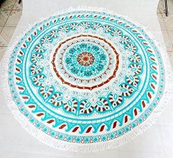 Orino 100% Cotton Soft Round Beach Floral Towel With Fringing 59 Inch Diameter