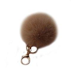 Raylans Faux Soft Fluffy 10CM Ball Rabbit Fur Car Keychain Pendant Handbag Charm Keyring Pom Coffee