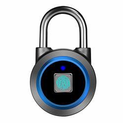 Fingerprint Padlock Bluetooth Lock App IP65 Waterproof Megafeis Smart Padlock With Keyless Biometric Suitable For Gym Sports Bike School Outdoor Fence And Storage Blue