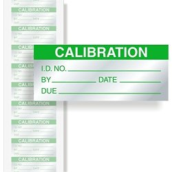 "QCLabels Calibration: Id by date due - Green Aluminum Foil Label 350 Labels Pack 1.5"" X 0.625"