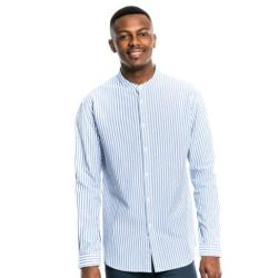 Markham Stripe Mandarin Shirt Blue & White
