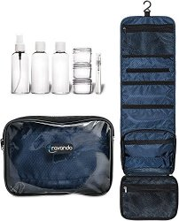 """TRAVANDO Hanging Toiletry Bag """"flexi"""" + 7 Containers For Liquids Travel Set For Men And Women Toiletry Kit For Cosmetics Makeup Toilet Organiser Suitcase Roll Wash Bag"""