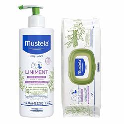Mustela Olive Oil Liniment Set For Diaper Changes And Cleanups With Liniment And Extra Virgin Olive Oil Cleansing Wipes 2 Ct.