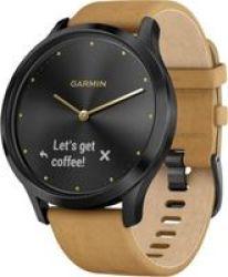 Garmin Vivomove HR Premium Smartwatch in Onyx Black & Tan