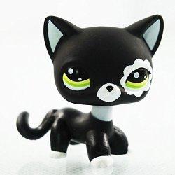 Vibola Rare Pet Shop Action Figure Toys Black Cat Green Eyes Flower Patch Kids Lps Toy